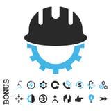 Symbol för vektor för utvecklingsHardhatlägenhet med bonusen Arkivfoto