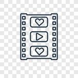 Symbol för vektor för filmremsabegrepp som linjär isoleras på genomskinliga lodisar royaltyfri illustrationer