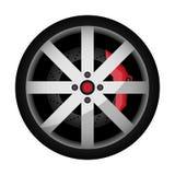 Symbol för vektor för hjul för sportbil för sidosikt Royaltyfria Bilder