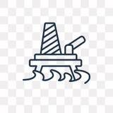 Symbol för vektor för oljaplattform som isoleras på genomskinlig bakgrund, lin royaltyfri illustrationer