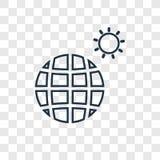 Symbol för vektor för planetjordbegrepp som linjär isoleras på genomskinligt vektor illustrationer