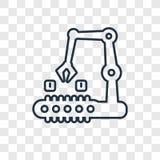 Symbol för vektor för produktbegrepp som linjär isoleras på genomskinlig backg vektor illustrationer