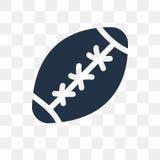 Symbol för vektor för rugbyboll som isoleras på genomskinlig bakgrund, rugby stock illustrationer