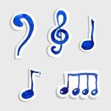 Symbol för vektormusikanmärkning på klistermärkeuppsättning Royaltyfria Foton