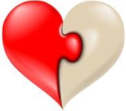 Symbol för vektorpusselhjärta stock illustrationer