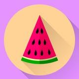 Symbol för vektorrundalägenhet av ett stycke av vattenmelon Arkivbilder