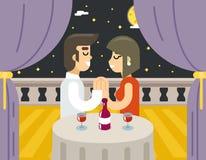 Symbol för vin för matställe för mat för kvinna för man för datummärkning för romantisk aftonnattförälskelse älskat Arkivbilder
