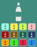Symbol för vinflaska med färgvariationer, vektor Arkivfoto