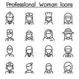 Symbol för yrkesmässig kvinna i den tunna linjen stil Arkivbild