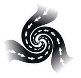 Symbol für ein Logo mit der Turbulenz mit drei Straßen in einer Richtung, Schwarzweiss-Bild vektor abbildung