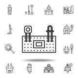 Symbol f?r robotteknikprotoboard?versikt ställ in av robotteknikillustrationsymboler tecknet symboler kan användas för rengörings royaltyfri illustrationer