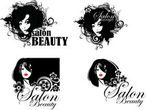 Symbol face girl, emblem hairstyle, templates for beauty salon, beauty woman face Stock Image