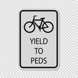 Symbol Fahrräder erbringen den Fußgängern unterzeichnen auf transparentem Hintergrund stock abbildung