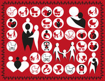 Symbol of family, babies. Illustration symbols family, babies, buggy on a red background Royalty Free Stock Images
