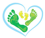 Symbol of family - foot print. Symbol of family - three green foot print from the father, mother and child Stock Images