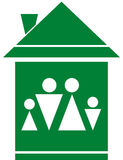 Symbol with family silhouette in green home Stock Images