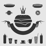 Symbol fast food set Royalty Free Stock Images