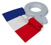 Symbol for feminine and flag of france Royalty Free Stock Image