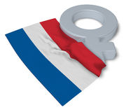 Symbol for feminine and flag of the netherlands. 3d rendering Stock Photo