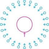 Symbol fertilization. Male and female gender symbol fertilization Stock Photos