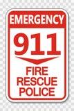 Symbol 911 Feuer-Rettungs-Polizei-Zeichen auf transparentem Hintergrund lizenzfreie abbildung