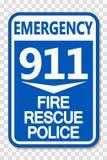 Symbol 911 Feuer-Rettungs-Polizei-Zeichen auf transparentem Hintergrund vektor abbildung