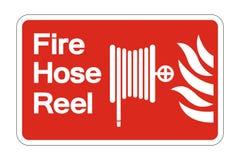 Symbol Feuerlöschschlauch-Spulen-Symbol-Zeichen auf weißem Hintergrund, Vektorillustration lizenzfreie abbildung
