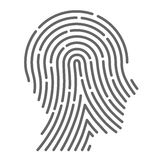Symbol fingerprint head Royalty Free Stock Image