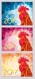Symbol 2017 fire cock background three different color. Oriental symbol of calendar year. fire cock Royalty Free Stock Photo