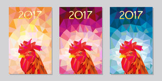 Symbol 2017 fire cock polygonal background three different color. Oriental symbol of calendar year. fire cock Stock Photos