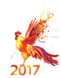 Symbol 2017 fire cock. Rooster flaps its wings, fiery spray dart feathers Stock Image