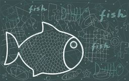 Symbol of a fish with abstract white lines. And a letter on a dark blue background Stock Image