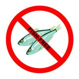 Symbol: Fish-Free Text. Symbol for fish-free food for those with allergies with explicit text Vector Illustration