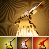 Symbol in the form of arms. Abstract symbol in the form of arms and the power word Stock Photo