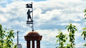 Symbol of founding Tomsk city. Siberia. Russia stock photos