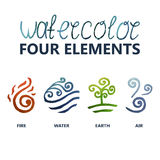 Symbol. Four elements watercolor (Fire, Water, Earth, Air Royalty Free Stock Photography