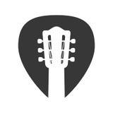 Symbol för musik för gitarrradinstrument som stylized swirlvektorn för bakgrund det dekorativa diagrammet vågr Arkivfoto