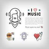 Symbol för musikspelare, lyssnande musik för flicka i hörlurar, vektorillustration Arkivbilder