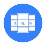 Symbol för olje- trumma i svart stil som isoleras på vit bakgrund Pengar och illustration för vektor för finanssymbolmateriel Royaltyfria Bilder