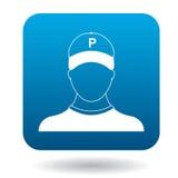 Symbol för parkeringsdeltagare, enkel stil Fotografering för Bildbyråer