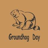 Symbol för vektorillustrationmurmeldjur Groundhog dag Royaltyfri Foto