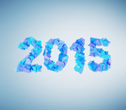 2015 symbol. Of fragments on blue background vector illustration