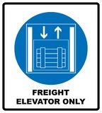 Symbol freight elevators and lifts only,  illustration isolated on white. Blue mandatory symbol. White simple pictogram. Symbol freight elevators and lifts only vector illustration