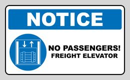 Symbol freight elevators and lifts only,  illustration isolated on white. Blue mandatory symbol. White simple pictogram. No passengers. Notice banner stock illustration