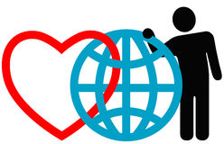 Symbol Friends Love the Earth. Symbolic friends (heart, globe, man) pose together at the annual International Symbol Reunion. Love the Earth vector illustration