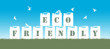 Fuel eco friendly. Symbol of fuel friendly to environment represented by few jerrycans with the inscription eco friendly posed on the grass, surrounded by birds Royalty Free Illustration