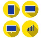 Symbol fyra för teknologitema: minnestavla bärbar dator, dator Royaltyfri Fotografi