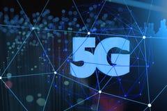 Symbol 5G auf dunklem digitalem Hintergrund Abbildung 3D lizenzfreies stockbild