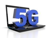 Symbol 5G on a laptop computer, high-speed wireless communication concept, 3d render. 5G symbol on a laptop computer, high-speed wireless communication concept stock illustration
