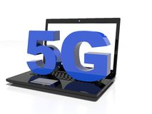 Symbol 5G on a laptop computer, high-speed wireless communication concept, 3d render. 5G symbol on a laptop computer, high-speed wireless communication concept vector illustration
